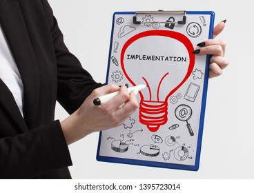 Business, technology, internet and networking concept. Young entrepreneur showing keyword: Implementation