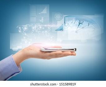 business, technology, internet and networking concept - woman hand with smartphone and virtual screen