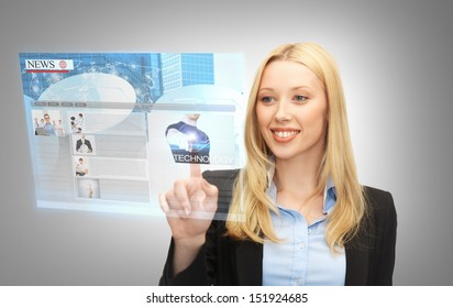 business, technology, internet and networking concept - businesswoman pressing buttons on virtual screen