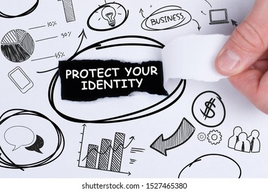 Business, technology, internet and networking concept. Young entrepreneur showing keyword: Protect your identity