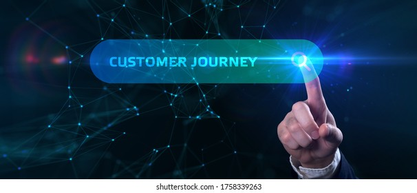 Business, technology, internet and networking concept. Young businessman working on his laptop in the office, select the icon Customer journey on the virtual display.