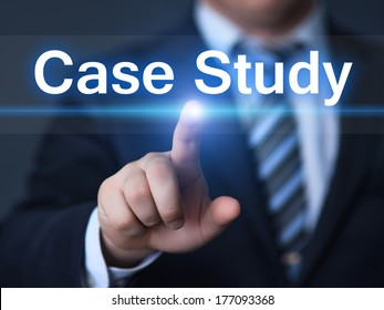business, technology, internet and networking concept - businessman pressing case study button on virtual screens