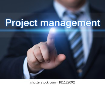 business, technology, internet and networking concept - businessman pressing Project Management button on virtual screens