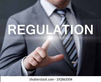 business, technology, internet and networking concept - businessman pressing regulation button on virtual screens