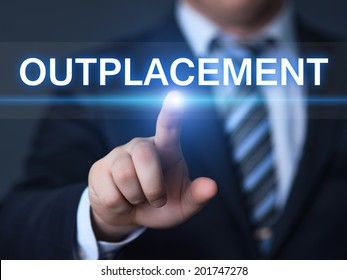 business, technology, internet and networking concept - businessman pressing outplacement button on virtual screens