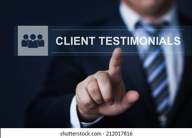 business, technology, internet and networking concept - businessman pressing client testimonials button on virtual screens