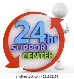 business, technology, internet and networking concept - businessman pressing 24/7 support center . 3d image rendered