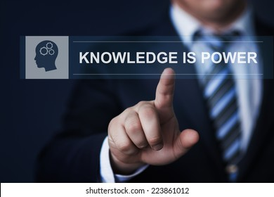 business, technology, internet and networking concept - businessman pressing knowledge is power button on virtual screens