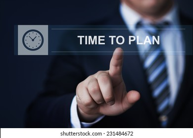 business, technology, internet and networking concept - businessman pressing time to plan button on virtual screens