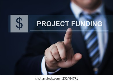 business, technology, internet and networking concept - businessman pressing project funding button on virtual screens