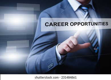 business, technology, internet and networking concept - businessman pressing career opportunities button on virtual screens