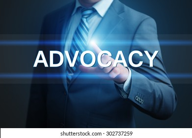 business, technology, internet and networking concept - businessman pressing advocacy button on virtual screens