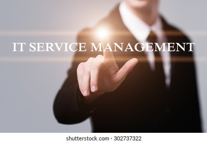 business, technology, internet and networking concept - businessman pressing it service management button on virtual screens