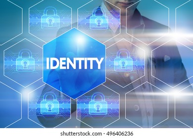 Business, technology, internet and networking concept. Businessman presses a button on the virtual screen: Identity