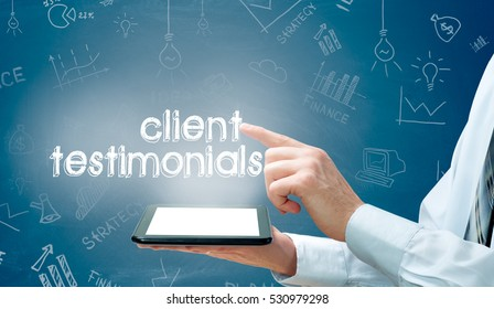 business, technology, internet and networking concept- client testimonials