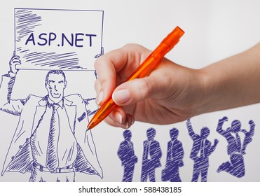 Business, technology, internet and networking concept. The girl draws a pen businessman with a poster in his hands. The sign reads: ASP.NET