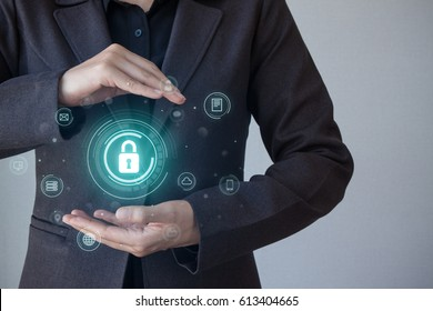 Business, technology, internet and networking concept. business security, safety of information from virus, crime and attack. Internet secure system.. Cyber security