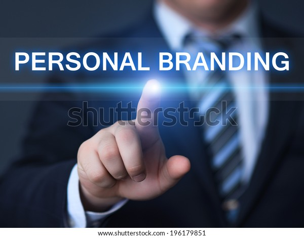 business, technology, internet and networking concept - businessman pressing personal branding button on virtual screens