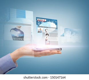 business, technology, internet and news concept - woman hand showing smartphone with news app