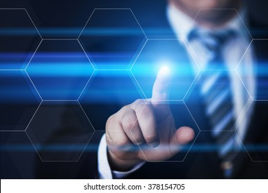 business, technology, internet and virtual reality concept - businessman pressing button on virtual screens with hexagons and transparent honeycomb