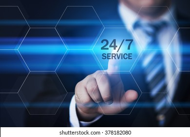 business, technology, internet and virtual reality concept - businessman pressing 24/7 service button on virtual screens with hexagons and transparent honeycomb
