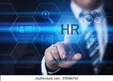 business, technology, internet and virtual reality concept - businessman pressing hr button on virtual screens with hexagons and transparent honeycomb