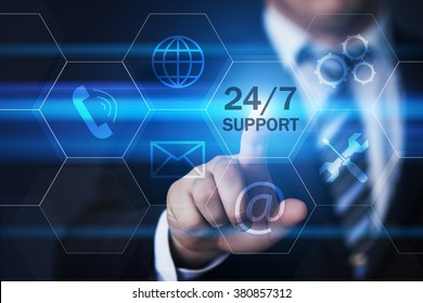 business, technology, internet and virtual reality concept - businessman pressing 24/7 support button on virtual screens with hexagons and transparent honeycomb