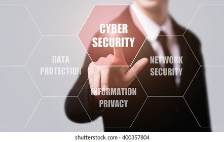 business, technology, internet and virtual reality concept - businessman pressing cyber security button on virtual screens with hexagons and transparent honeycomb
