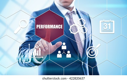 business, technology, internet and virtual reality concept - businessman pressing performance button on virtual screens with hexagons and transparent honeycomb