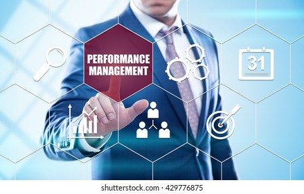 business, technology, internet and virtual reality concept - businessman pressing performance management button on virtual screens with hexagons and transparent honeycomb
