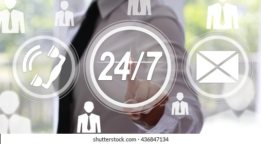 Business, technology, internet and virtual reality concept - businesswoman pressing 24/7 support button on virtual screens with circles. Service business.