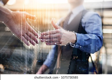business technology with man hand shake with graphic ideas icon connecting technology concpet