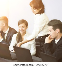 business, technology and office concept - smiling business team