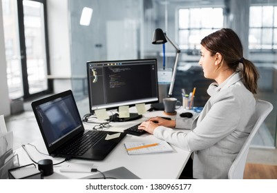 business, technology and people concept - businesswoman or programmer with computer working at office