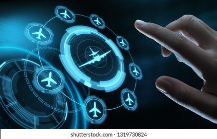 Business Technology Travel Transportation concept with planes.