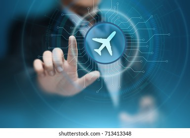 Business Technology Travel Transportation concept with planes around the world.