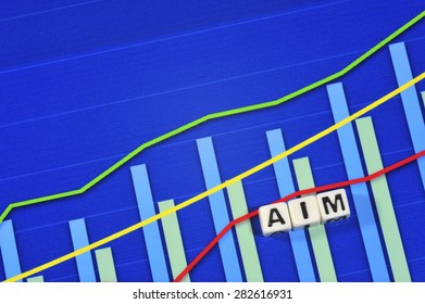 Business Term with Climbing Chart / Graph - Aim