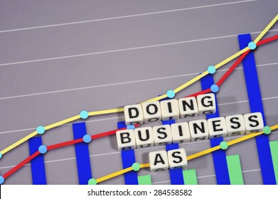 Business Term with Climbing Chart / Graph - Doing Business As