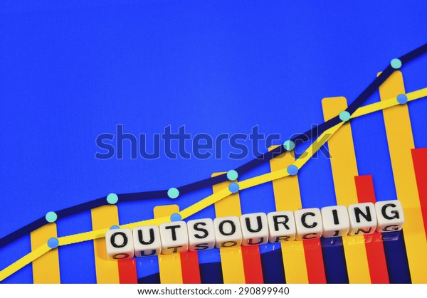 Business Term with Climbing Chart / Graph - Outsourcing