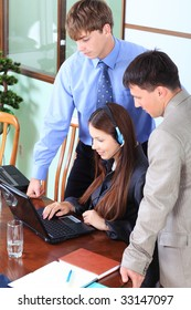 Business theme: business people in a work process in office.