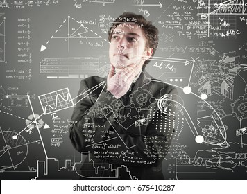 Business is thinking of a solution to a math formula.