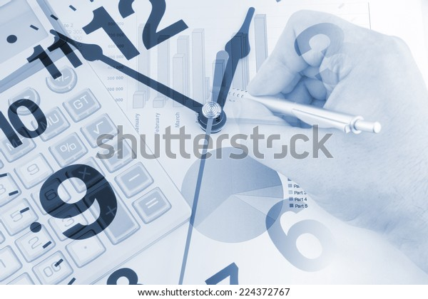 Business time concept. calculator, hand with pen, clock and documents