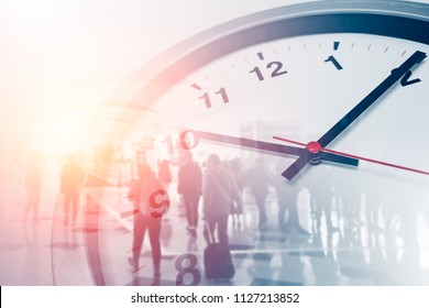 Business times concept people walking overlay with time clock - Shutterstock ID 1127213852