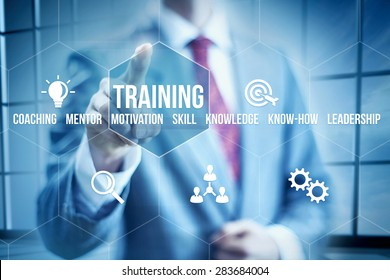 Business training concept, businessman selecting interface