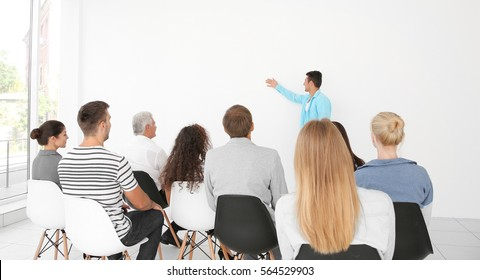 Business training concept. Business people having meeting in conference room