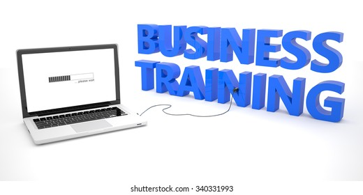 Business Training - laptop notebook computer connected to a word on white background. 3d render illustration.