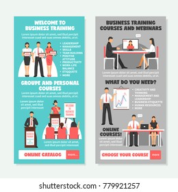 Business training vertical banners with presentation of different types of learning and teaching strategies  illustration
