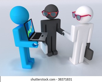 Business the transaction of two people and their assistant