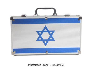 Business travel suitcase with Flag of Israel