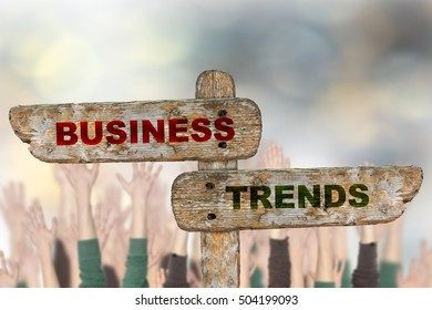 Business trend indicates signpost.